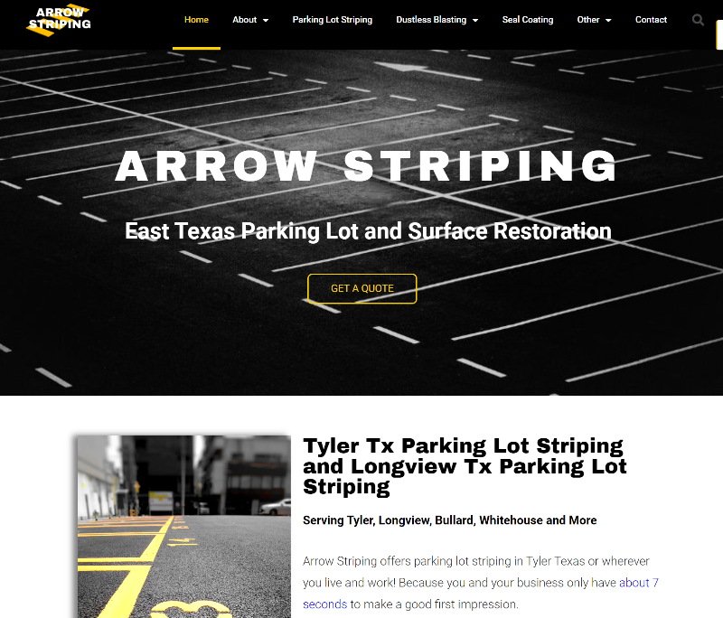website design examples for parking lot striping